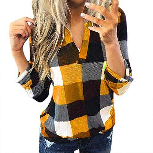 winwintom Women Plaid Shirt Long Sleeve V Neck Casual Tops Blouses Boyfriend Tunic Jacket Shirt, S-5XL (Orange, XL)