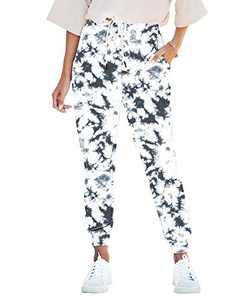 Seyorz Women's Joggers Pants Tie Dye Sweatpants Cuffed Soft Jogging Pants with Pockets Drawstring Design(Black, Large)