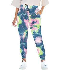 Seyorz Women's Joggers Pants Tie Dye Sweatpants Cuffed Soft Jogging Pants with Pockets Drawstring Design(Blue, Large)
