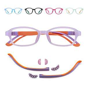 Blue Light Glasses for Kids/Girls/Boys Age 7-12 - TV/Reading/Phone/Gaming/Computer Glasses - Anti Blue Rays & Glare & Eyestrain & UV400 Protection - Purple