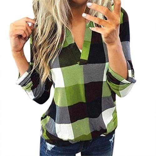 winwintom Women Plaid Shirt Long Sleeve V Neck Casual Tops Blouses Boyfriend Tunic Jacket Shirt, S-5XL (Green, XL)