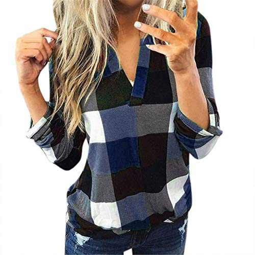 winwintom Women Plaid Shirt Long Sleeve V Neck Casual Tops Blouses Boyfriend Tunic Jacket Shirt, S-5XL (Navy, 5XL)