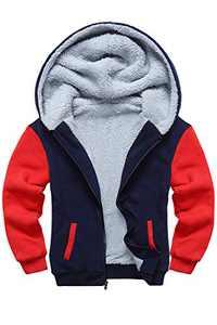 SWISSWELL Boys Fleece Hoodie Full Zip Hooded Sweatshirt with Thick Sherpa Lined (B-Navy/Red,14)