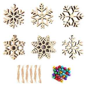 30Pcs Christmas Wooden Snowflake Ornaments, Unfinishes DIY Wood Cutouts Hollowed Snowflakes Embellishments Pendants with Cords and Bells,for Christmas DIY Decotaion