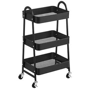 SONGMICS 3-Tier Rolling Cart, Metal Storage Cart, Kitchen Storage Trolley with 2 Brakes and Handles, Utility Cart, Easy Assembly, for Painting Utensils Bedroom Laundry Room, Black UBSC068B01