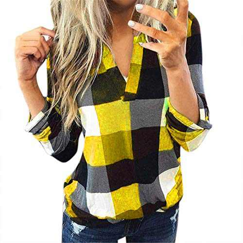 winwintom Women Plaid Shirt Long Sleeve V Neck Casual Tops Blouses Boyfriend Tunic Jacket Shirt, S-5XL (Gold, XL)
