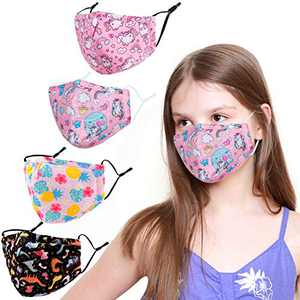 SKMOO Kids Face Covering Washable Cotton Fabric Cloth Face Covering with Adjustable Elastic Ear Loops Face Reusable (MIAN-13)