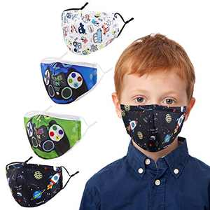 Kids Face Covering Washable Cotton Fabric Cloth Face Covering with Adjustable Elastic Ear Loops Face Reusable (MIAN-18)