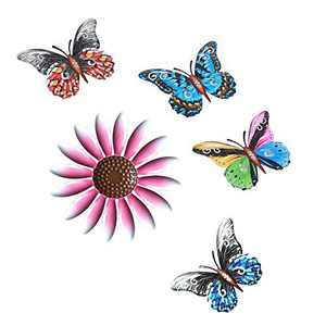 FOHOLA Metal Flower Wall Art Decor, Metal Butterfly Wall Art Decor Hanging for Indoor Outdoor, Home, Bedroom, Living Room, Office, Fences (Pink-Flower)