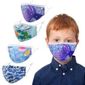 Kids Face Covering Washable Cotton Fabric Cloth Face Covering with Adjustable Elastic Ear Loops Face Reusable (MIAN-16)