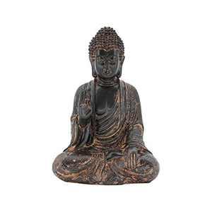 Leekung Meditative Seated Buddha Statue,Rustic Buddha Decor Figurine,Antique Meditation Buddah Home Decoration 11'inch Purple Red Color