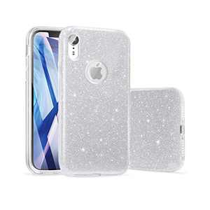 "ABenkle Compatible with iPhone XR Case Glitter Slim Fit Protective Case for Girls & Women Bling Sparkle Soft Shell High Impact Hybrid Shockproof Rubber Bumper Cover for iPhone XR 6.1""- 2018, Sliver"