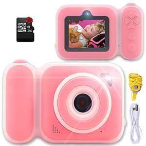 iEsyty Kids Camera Children's Toys 3 4 5 6 7 8 9 Birthday Gift for Girls HD Digital Video Camera for Toddlers 3-9 Years Old Boy Playmate 32GB SD Card 2-inch Display Pink