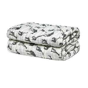 "LollyBanks Super Soft Muslin Quilt 100% Cotton Gender Neutral Receiving Blanket Breathable Lightweight 6 Layers Large Size 47"" x 47"" (Giraffe)"