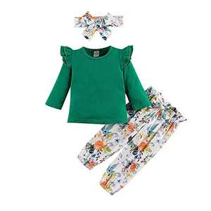 3Pcs Toddler Girl Clothes,Solid Color Long Sleeves Ruffle Top+ Floral Pant +Floral Headband Fall Winter Set (Green, 2-3 T(100))