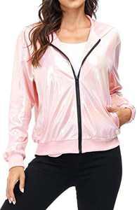 Pink Holographic Shiny Metallic Jacket for Women Lighweight Zipper Hooded Clubwear Jacket Outwear Pockets Fall 2020 XL