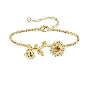Anoup Initial Sunflower Bracelets for Girls Women, 14k Gold Plated Sunflower Bracelets Initial U Bee Sunflower Charm Bracelets Sunflower Jewelry Sunflower Gifts for Girls Women Gold White Gold