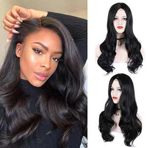Black Wig Long Curly Lace Wig Synthetic Wig 26 Inches Daily Halloween Wig Soft Lace Wig For Women Looks Natural (1B# (NYL2330))