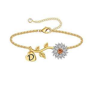 Anoup Initial Sunflower Bracelets for Girls Women, 14k Gold Plated Sunflower Bracelets Initial D Bee Sunflower Charm Bracelets Sunflower Jewelry Sunflower Gifts for Girls Women White Gold