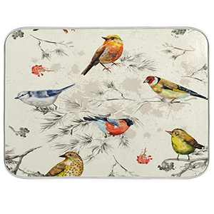 Dish Drying Mat for Kitchen Counter Absorbent Reversible Microfiber Sink Mats Dishes Rack Mat Bathroom Counter Pads Large Spring Little Birds 18x24 inch