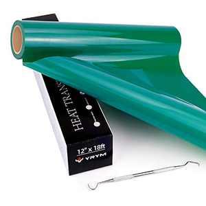 "YRYM HTV Vinyl Roll Green Heat Transfer Vinyl - 12"" x 18ft Green Iron on Vinyl for Cutting Machines, Green HTV Vinyl Easy to Cut & Weed, Green Heat Transfer Vinyl Roll for Heat Press Design"