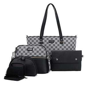 Women Fashion Handbags Tote Bag Shoulder Bag Top Handle Satchel Purse Set 5pcs (2061P#H#6/K122#401 BLACK/BLACK)