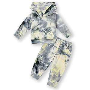 Toddler Kids Baby Girl Boy Tie Dye Print Long Sleeve Pocket Hoodies Top with Pants 2Pcs Tracksuit Sweatshirts (Hoodie-Grey, 18-24 Months)