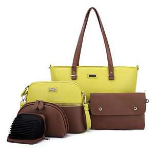 Women Fashion Handbags Tote Bag Shoulder Bag Top Handle Satchel Purse Set 5pcs (2061P#K122#336/865 YELLOW/BROWN)