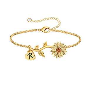 Anoup Initial Sunflower Bracelets for Girls Women, 14k Gold Plated Sunflower Bracelets Initial R Bee Sunflower Charm Bracelets Sunflower Jewelry Sunflower Gifts for Girls Women Gold White Gold