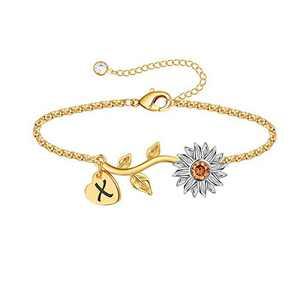 Anoup Initial Sunflower Bracelets for Girls Women, 14k Gold Plated Sunflower Bracelets Initial X Bee Sunflower Charm Bracelets Sunflower Jewelry Sunflower Gifts for Girls Women White Gold
