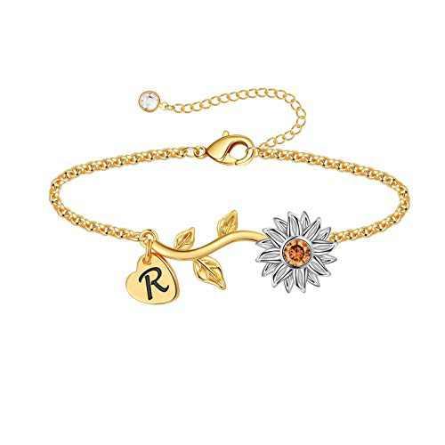 Anoup Initial Sunflower Bracelets for Girls Women, 14k Gold Plated Sunflower Bracelets Initial R Bee Sunflower Charm Bracelets Sunflower Jewelry Sunflower Gifts for Girls Women White Gold