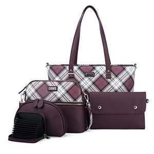 Women Fashion Handbags Tote Bag Shoulder Bag Top Handle Satchel Purse Set 5pcs (2061P#W8328#10/K122#567 WINE/WINE)