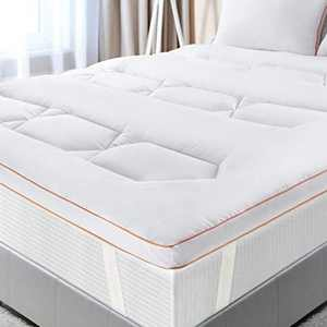 Maxzzz Mattress Topper Double Size, Update Thick 2.5 Inch Hypoallergenic Down Alternative Bed Topper, Ultra Soft Washable Microfibre Topper with 4 Elasticated Corner Straps, 135 * 190CM