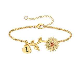 Anoup Initial Sunflower Bracelets for Girls Women, 14k Gold Plated Sunflower Bracelets Initial I Bee Sunflower Charm Bracelets Sunflower Jewelry Sunflower Gifts for Girls Women Gold White Gold