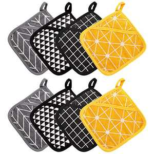 Odebao Cotton Pot Holders for Kitchen Heat Resistant Hot Pads and Oven Mitts Sets Cooking Pocket Flexibility Potholders Thick Plaid Cute Square Linen Pads Machine Washable (8PCS)