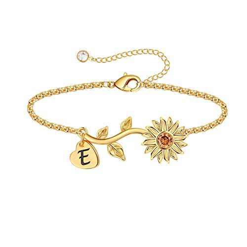 Anoup Initial Sunflower Bracelets for Girls Women, 14k Gold Plated Sunflower Bracelets Initial E Bee Sunflower Charm Bracelets Sunflower Jewelry Sunflower Gifts for Girls Women Gold White Gold