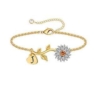 Anoup Initial Sunflower Bracelets for Girls Women, 14k Gold Plated Sunflower Bracelets Initial J Bee Sunflower Charm Bracelets Sunflower Jewelry Sunflower Gifts for Girls Women White Gold
