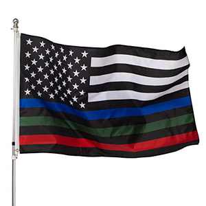 KPP Thin Blue Green and Red Line American Flag - Honoring Police Officers Firefighter and Border Patrol Agents Polyester Flags with Brass Grommets 3 X 5 Ft