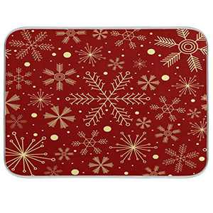"Christmas Snowflakes On Red Dish Drying Mat for Kitchen, Absorbent Microfiber Drying Pad Dish Mat, 16"" X 18"""