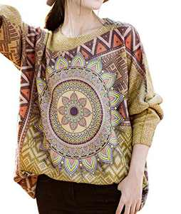 YESNO S01 Girls Casual Loose Sweaters Knitted Pullover Tops Printed Long Sleeve M S01 CR43