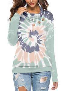 KISSMODA Womens Cowl Neck Color Block Tie Dye Tunic Sweatshirt with Button Pullover Tops