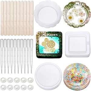33 Pieces DIY Ashtray Resin Mold Set, Silicone Large Tray Flower Resin Mold Square Coaster Casting Mold Round Shape Epoxy Mold with Droppers, Finger Cots and Wooden Sticks for DIY Crafts Making