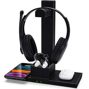 Headphone Stand with Dual Wireless Charger, Gaming Headset Holder Hanger with 2-in-1 Wireless Charging Pad - Suitable for Gamer Desktop Table Game Earphone Accessories