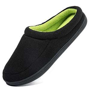Apan Men's Winter Slippers Warm Memory Foam Woolen Fabric Indoor Outdoor Clog House Shoes,Black/Green, Size 6-7