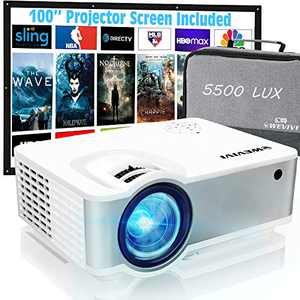 """Wevivi Mini Outdoor Movie Projector, HD1080P Projector Supported 100"""" Projector Screen, 5500Lumens 240"""" Display, Outdoor Projector Set for Home Theater, Phone, Video Game, HDMI, VGA and USB"""