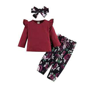 3Pcs Toddler Girl Clothes,Solid Color Long Sleeves Ruffle Top+ Floral Pant +Floral Headband Fall Winter Set(Wine Red, 18-24 Months(90))