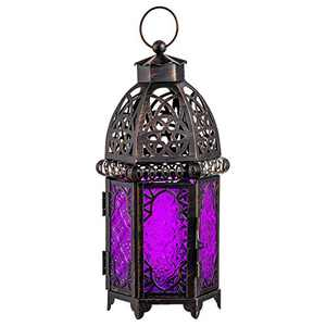 DECORKEY Vintage Candle Lantern, Moroccan Style Decorative Hanging Lantern, Metal Tabletop Lantern, Halloween Candle Holders for Outdoor Patio (Purple)