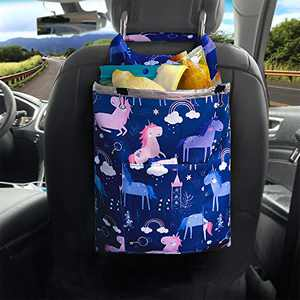 Car Trash Bag Cute Hanging Front Seat, Blue Waterproof Garbage Can with Storage Pockets Container for Travel , Foldable Vehicle Back Seat Rubbish Bin with Velcro for Kid Baby, Washable Waste Basket