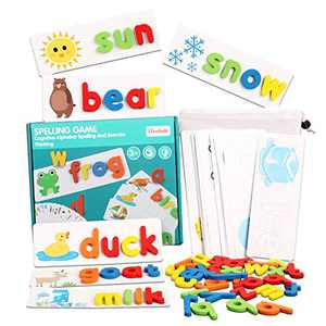 Spelling Words Games Wooden Educational Development Toy, See and Spelling Learning Toy with 28 Double - Sided Cognitive Cards and 52 Letters Great Gift for 4 5 6 Years Girl Boy