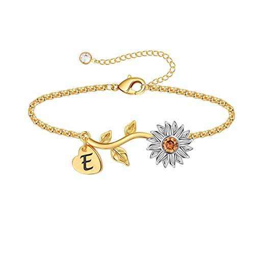 Anoup Initial Sunflower Bracelets for Girls Women, 14k Gold Plated Sunflower Bracelets Initial E Bee Sunflower Charm Bracelets Sunflower Jewelry Sunflower Gifts for Girls Women White Gold